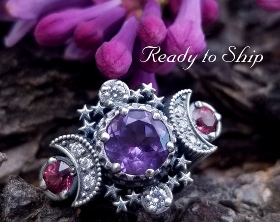 Ready to Ship Size 5 - 7 - Amethyst & Malaya Garnet Cosmos Moon Engagement Ring with Stardust Chevron Wedding Band and Diamonds