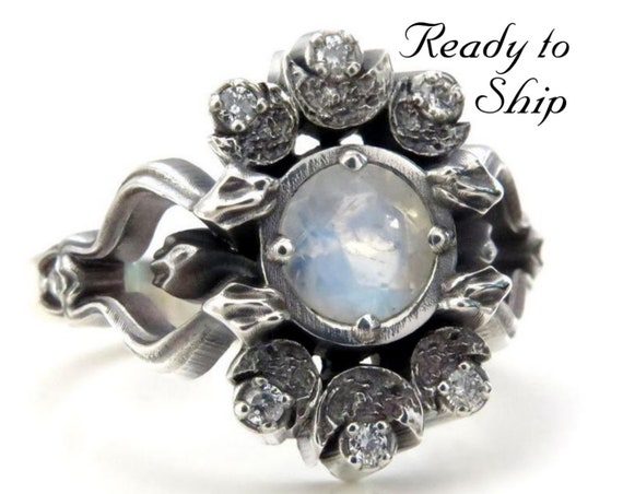 Ready to Ship Size 7 - 9 - Gothic Snake and Crescent Moon Engagement Ring - Moonstone and Silver Galaxy Diamonds