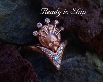 Ready to Ship Size 6 - 8 - Catacomb Angel - Diamond Halo - 14k Rose Gold Skull with White Diamonds