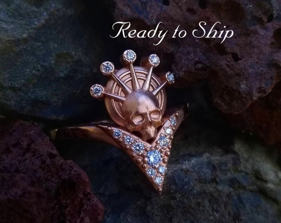 Ready to Ship Size 6 - 8 - Catacomb Angel - Diamond Halo - 14k Rose Gold Skull with White Diamonds