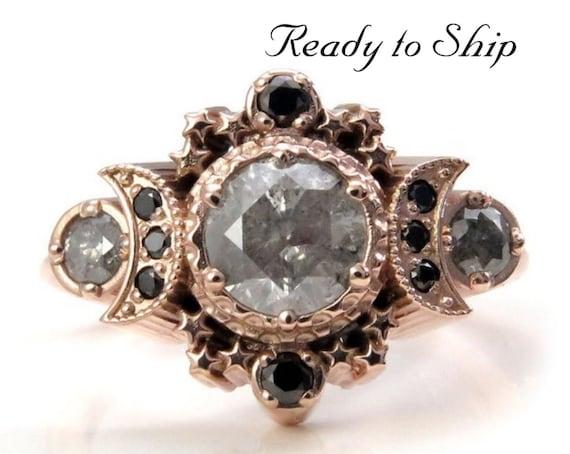 Ready to Ship Size 6-8 - Natural Gray Galaxy Diamond Cosmos Moon Engagement Ring - Rose Gold Celestial Black Diamond Lunar Ring