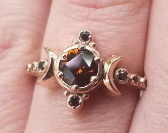 Ready to Ship Size 6 - 8 - Mali Garnet Compass Moon Engagement Ring Set with Black Diamond Sunray & Chevron Wedding Bands - 14k Rose Gold