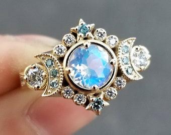Selene Moon Goddess Ring - Moonstone with Blue and White Diamonds - 14k Yellow Gold