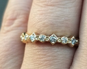 Mini Moon Diamond Half Eternity Ring - Wedding Band - Stacking Gold Ring - Black or White Diamond Ring - Crescent Moon Jewlery