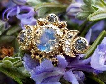 Ready to Ship Size 6 - 8 - Rainbow Moonstone and Galaxy Diamond Cosmos Moon & Star Engagement Ring - Boho Commitment Ring - 14k Yellow Gold
