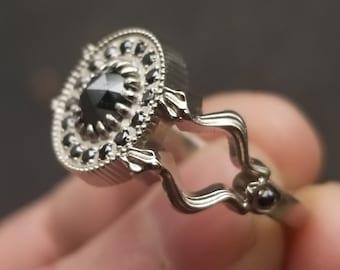 Ready to Ship Size 7 - 9 - Gothic Black Diamond and Snake Engagement Ring - Black Diamond Halo - Alternative Wedding Ring