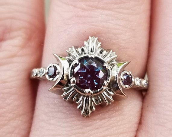 Chatham Alexandrite Moonfire Moon Phase Engagement Ring with Diamonds - Bohemian Fine Jewelry