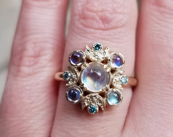 Ethereal Moon Phase Engagement Ring - Rainbow Moonstone with Tiny Irradiated Blue Diamonds - 14k Yellow Gold