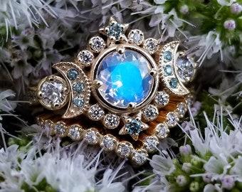 Selene Moon Goddess Ring Set - Moonstone with Blue and White Diamonds - 14k Yellow Gold Pave Diamond Chevron