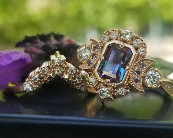 Chatham Alexandrite Radiant Emerald Cut Selene Celestial Engagement Ring Set - Diamonds & Crescent Moons - 14k Rose Gold