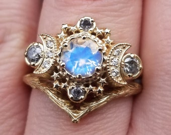 Rainbow Moonstone and Salt & Pepper Diamond Cosmos Triple Moon Engagement Ring Set with Gold Forest Chevron Wedding Band