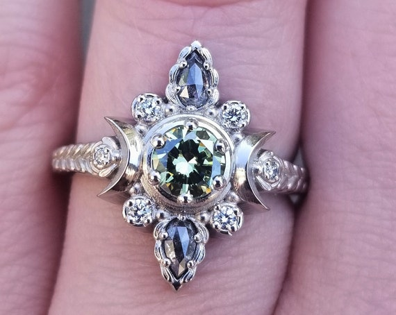 Ready to Ship Size 6 - 8 - Green Diamond Moon Engagement Ring with Salt & Pepper Pears and Sage Leaves - 14k Palladium White Gold