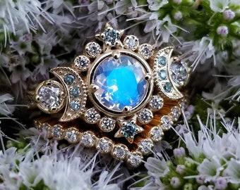 Ready to Ship Size 6 - 8  Selene Moon Goddess Ring Set - Moonstone with Blue and White Diamonds - 14k Yellow Gold Pave Diamond Chevron