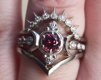 Malaya Garnet Compass Moon Engagement Ring Set with Diamond Sunray and Chevron Wedding Bands