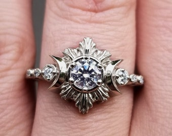 Diamond Moonfire Engagement Ring - 14k Palladium White Gold Celestial Wedding Ring