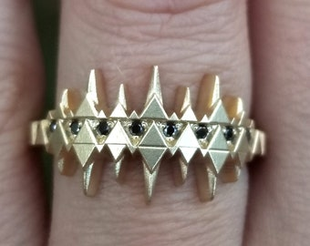 Ready to Ship Size 6 - 8 - WITCH - Gold Crown Ring with Black Diamonds - Ravenna