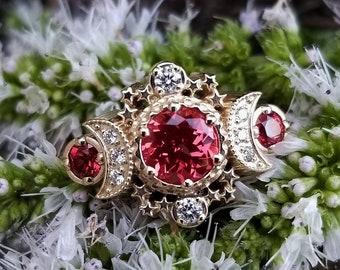 Chatham Padparadscha Sapphire Cosmos Engagement Ring - 14k Yellow Gold and Diamonds - Moon Fine Jewelry