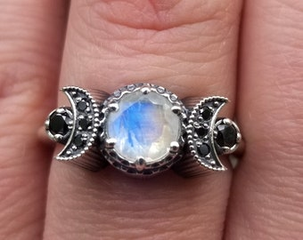 Ready to Ship Size 5.5 - 7.5 - Hecate Moon Engagement Ring Set - Moonstone with Black Diamonds - Sterling Silver Triple Moon Engagement Ring