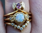 Ready to Ship Size 6 - 8 - Baby Bat & Moon Engagement Ring Set - Pastel Goth Wedding Rings - 14k Yellow Gold