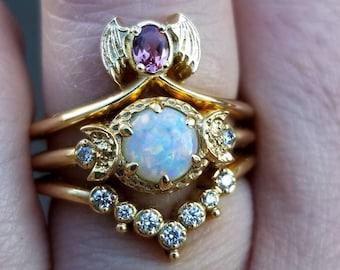 Ready to Ship Size 6 - 8 - Baby Bat & Moon Engagement Ring Set - Pastel Goth Wedding Rings - 14k Yellow Gold
