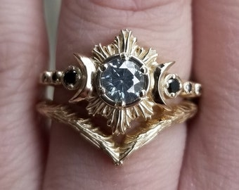 Ready to Ship Size 6 - 8 - Gray Claire De Lune Moissanite Moonfire Engagement Ring with Forest and Mossy Knoll Chevrons - 14k Yellow Gold