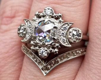 ALL Moissanite Cosmos Engagement Ring Set- Diamond Alternative - Ethically Sourced Celestial Moon Ring and Stardust Chevron