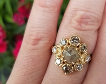Ready to Ship Size 5 - 7.5 Victorian Raw Rose Cut Diamond with Champagne and White Diamonds Crescent Moon Engagement Ring
