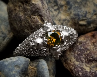 Ready to Ship Size 6 - 8 - 4 Skull Catacomb Ring with Cognac Diamond & Mossy Knoll Chevron - 14k Palladium White Gold