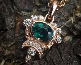 Indicolite Cosmos Moon Pendant - White Diamond Celestial Necklace - 14k Rose Gold - Ready to Ship