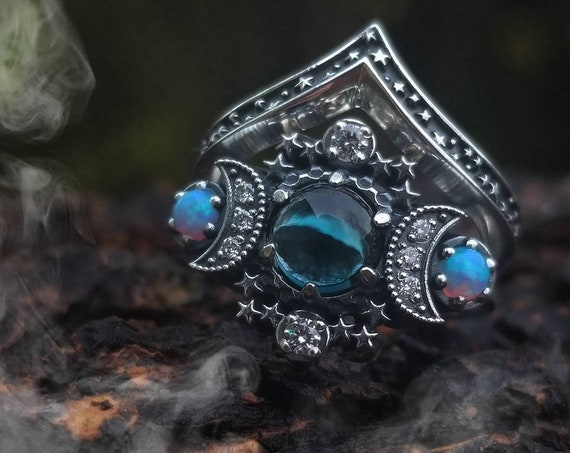 Ready to Ship Size 4.5 - 6.5 London Blue Topaz Cosmos Ring Set with Baby Blue Lab Opals and Diamond Crescent Moons - Sterling Silver