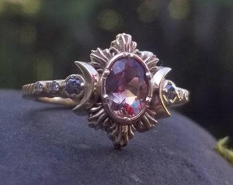 Pick your Stone - Oregon Sunstone Moonfire Engagement Ring - Crescent Moon Ring - 14k Yellow, Rose or Palladium White Gold