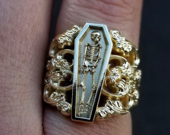 Ready to Ship Size 6 - 8 - Memento Mori Ring with Baroque Gold Scrolls Skeleton Mourning Jewelry - Fine Gothic Jewelry