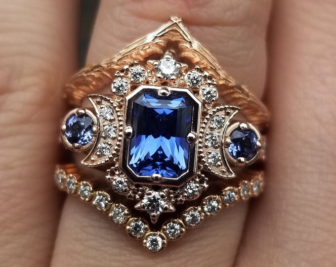 Featured listing image: Ready to Ship Size 6 - 8 - Emerald Cut Chatham Sapphire Selene Crescent Moon Engagement Ring Set - Diamonds & Blue Sapphires - 14k Rose Gold