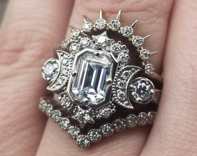 Featured listing image: Ready to Ship Size 6 - 8 - Moissanite & Diamond Selene Moon Lunar Engagement Ring Set - Step Cut Moissanite - 14k Palladium White Gold