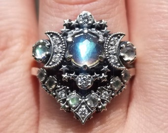 Rose Cut Labradorite Cosmos Moon and Star Ring - Sterling Silver with White Diamonds - Boho Celestial Engagement