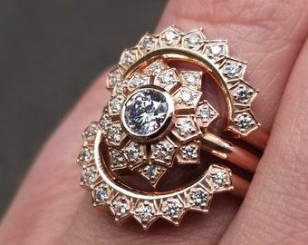 Diamond Art Deco Flower Double Halo 3 Piece Engagement Ring Set - 14k Yellow Rose or Palladium White Gold - Vintage Inspired Rings