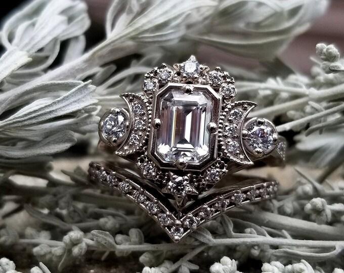 Featured listing image: Step Cut Moissanite Selene Triple Moon Engagement Ring Set - Moissanite, Diamonds & 14k Palladium White Gold