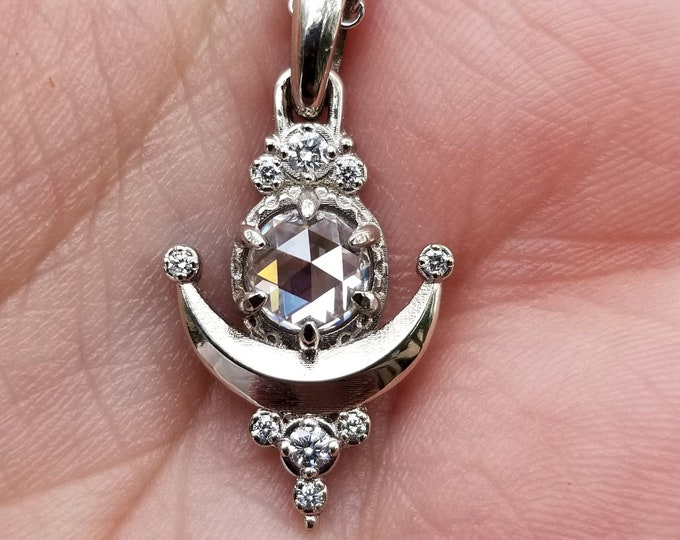 Featured listing image: Ready to Ship - Rose Cut Moissanite Moon Drop Pendant with White Diamonds - 14k Palladium White Gold