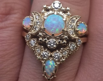 Ready to Ship Size 6 - 8 - Lab Opal Cosmos Moon Engagement Ring Set - Yellow Gold Lunar 3 Stone Crescent Diamond Rings