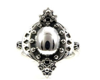 Victorian SteamPunk Silver Ring - Gears and Rivets - Ladies Handmade Engagement Ring
