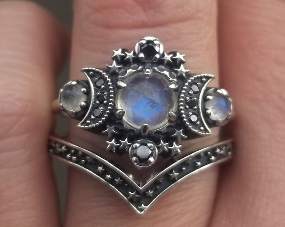 Ready to Ship Size 7.5 - 9.5 - Rose Cut Moonstone Cosmos Moon and Star Ring - Sterling Silver & Black Diamonds - Boho Celestial Engagement