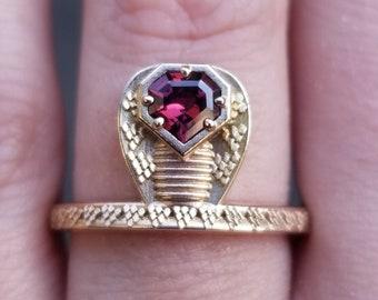 Ready to Ship - GORGON Locks - Snake Ring with Mahenge Garnet Snake Head - 14k Rose Gold - Size 6 - 8