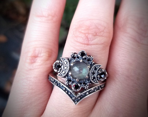 Ready to Ship Size 8 - 10 - Rose Cut Labradorite Cosmos Moon Engagement Ring Set - Sterling Silver with Black Diamonds