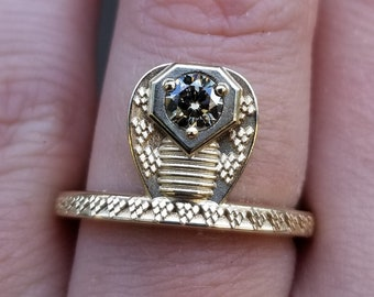 Ready to Ship - GORGON Locks - Snake Ring with Natural Champagne Diamond Head - 14k Yellow Gold Size 6 - 8
