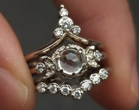 Starlight Sanctuary Engagement Ring Set - Rose Cut White Topaz and Diamonds Celestial Stacking Gold Rings