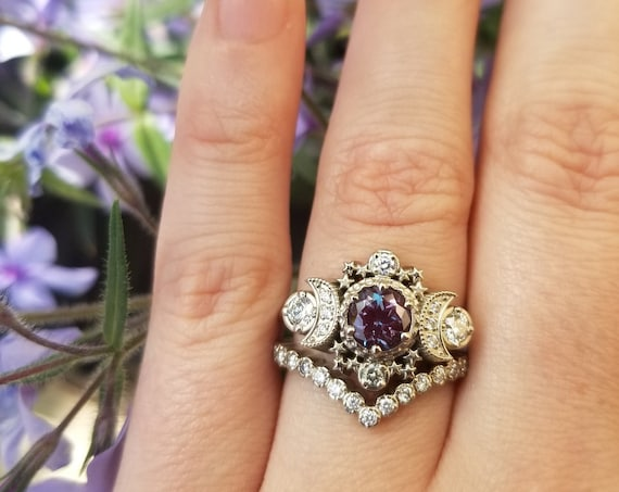 Chatham Alexandrite Cosmos White Gold Moon Engagement Ring - Moon & Star Wedding Set