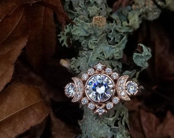 Ready to Ship Size 6 - 8 - Selene Triple Moon Goddess Engagement Ring - Moissanite and Diamond Lunar Boho Wedding Ring -14k Rose Gold