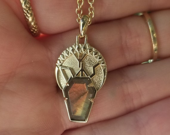 Labradorite Coffin Pendant - Runes - Uruz, Sowilo and Algiz - 14k Gold