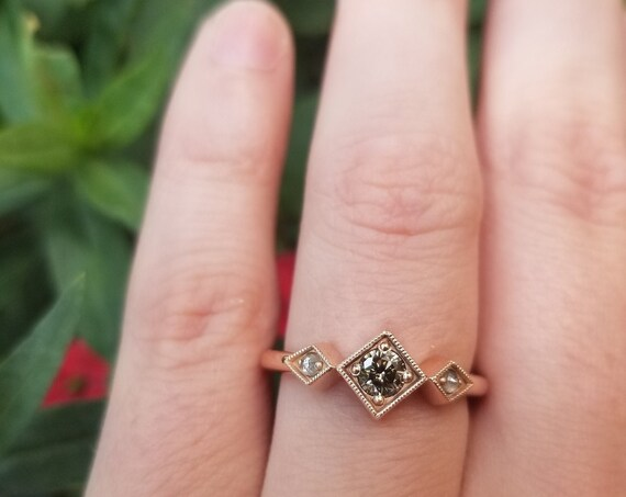 Gray Champagne Diamond Art Deco Engagement Ring with White Rose Cut Diamond Sides - 14k Rose Gold
