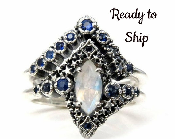 Ready to Ship Size 6 - 8 Marquise Moonstone and Sapphire Stardust Engagement Ring Set - Silver Silver